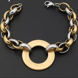 Stainless Steel Gold Silver Chunky Bracelet